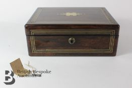 19th Century Rosewood Turnover Writing Box