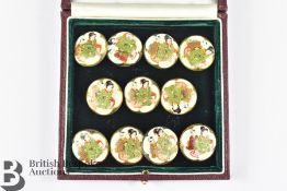 Eleven Japanese Porcelain Buttons