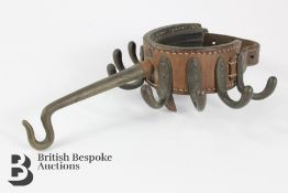Late 19th Century Campaign Leather and Brass Tent Pole Coat Hanger