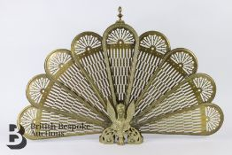 Highly Decorative 20th Century Peacock Style Brass Firescreen