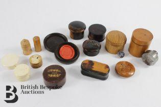 Miscellaneous Treen and Tortoiseshell Boxes