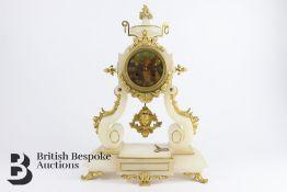 French Alabaster Mantel Clock