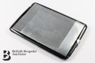Late Art Deco Chrome Plated and Enamel Cigarette Case
