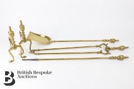 Edwardian Brass Fire Irons and Dogs