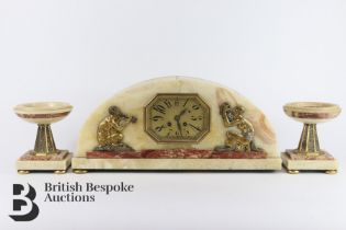 Art Deco Clock and Garniture