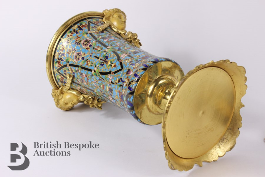 French 19th Century Ormolu and Cloisonné Vases - Image 5 of 10