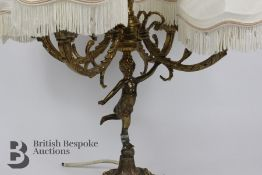 French Brass Ormolu Four Branch Lamp Stand