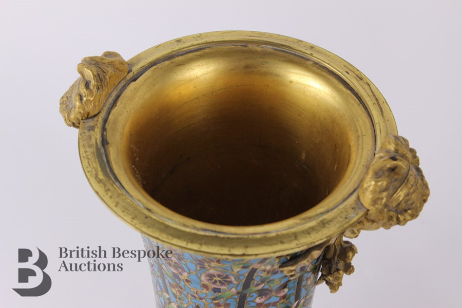 French 19th Century Ormolu and Cloisonné Vases - Image 4 of 10