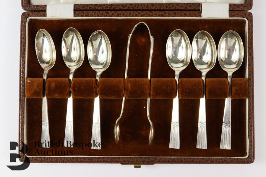 Silver Tea Spoons and Sugar Nip Set - Image 2 of 3