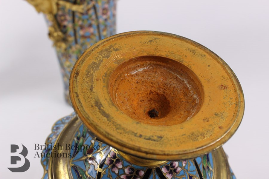 French 19th Century Ormolu and Cloisonné Vases - Image 10 of 10