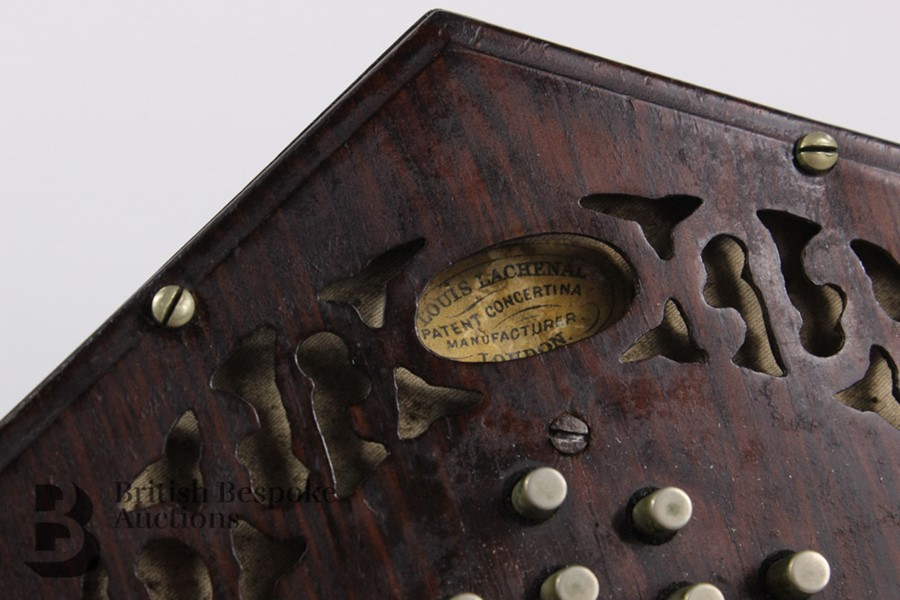19th Century Louis Lachenal Rosewood Concertina - Image 7 of 7