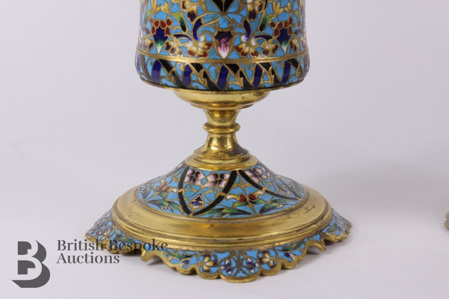 French 19th Century Ormolu and Cloisonné Vases - Image 3 of 10