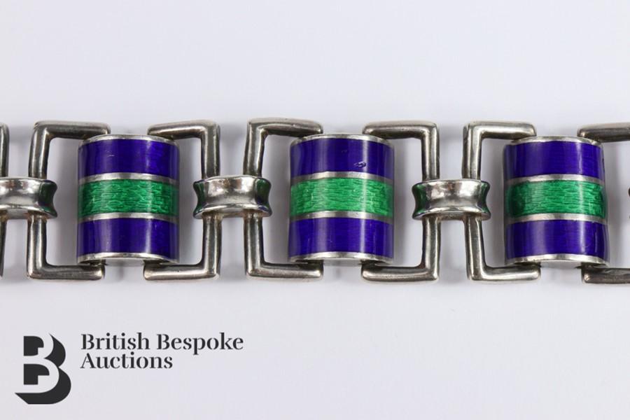 Silver and Guilloche Enamel Link Bracelet - Image 4 of 6