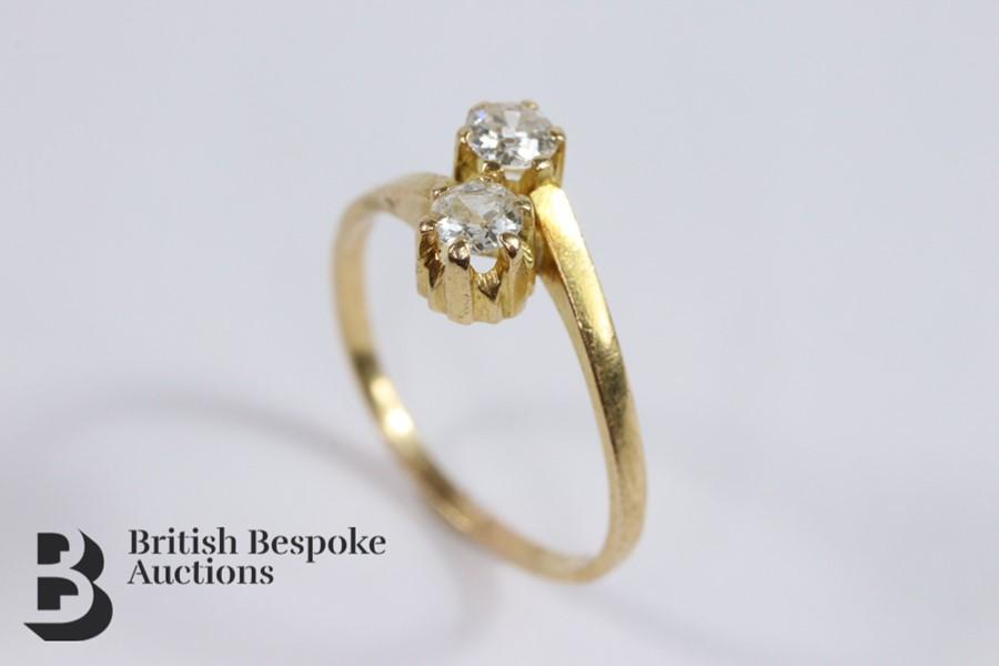 9ct Yellow Gold Diamond Cross-Over Ring - Image 3 of 3