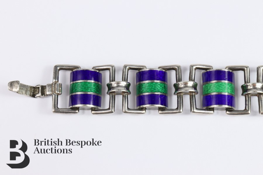 Silver and Guilloche Enamel Link Bracelet - Image 2 of 6