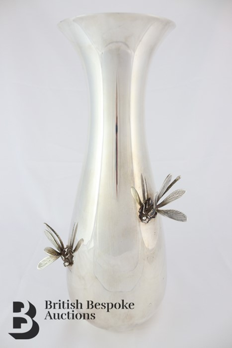 Thistle & Bee Silver Fluted Vase