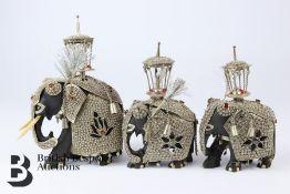 Three Carved Ebony Elephants
