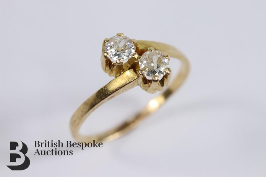 9ct Yellow Gold Diamond Cross-Over Ring