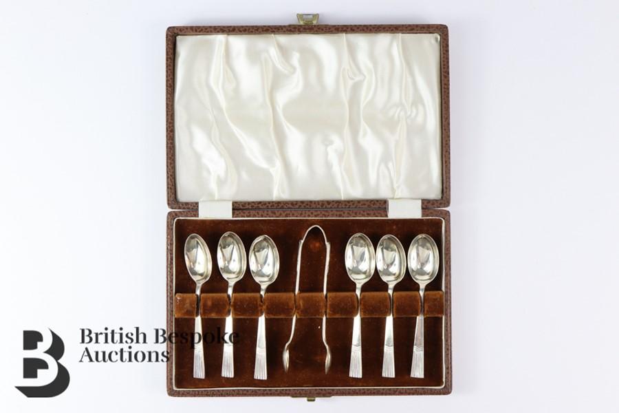 Silver Tea Spoons and Sugar Nip Set
