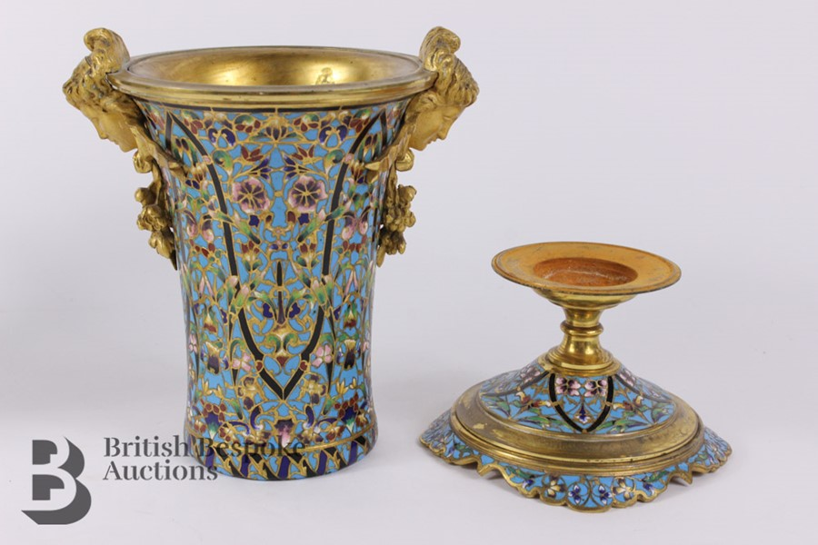 French 19th Century Ormolu and Cloisonné Vases - Image 7 of 10