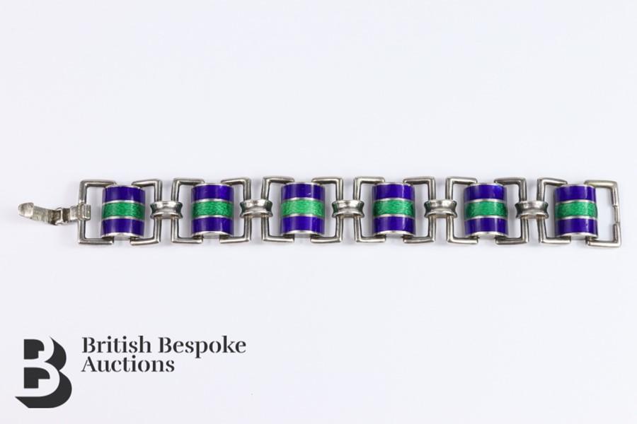 Silver and Guilloche Enamel Link Bracelet