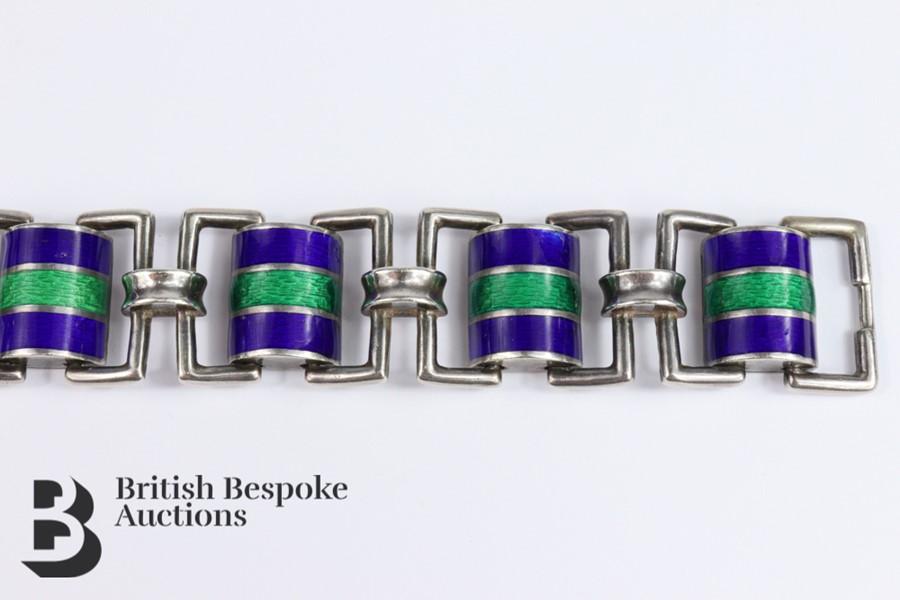 Silver and Guilloche Enamel Link Bracelet - Image 3 of 6