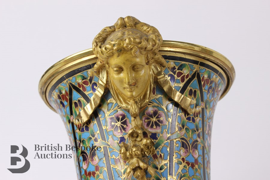 French 19th Century Ormolu and Cloisonné Vases - Image 6 of 10