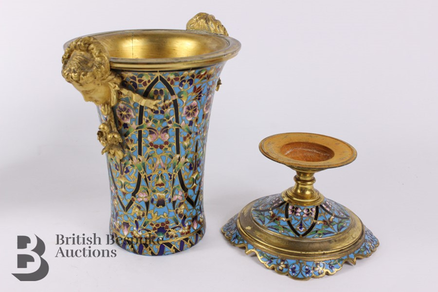 French 19th Century Ormolu and Cloisonné Vases - Image 9 of 10