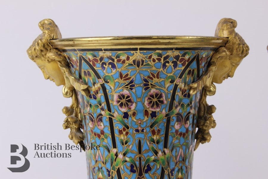 French 19th Century Ormolu and Cloisonné Vases - Image 2 of 10