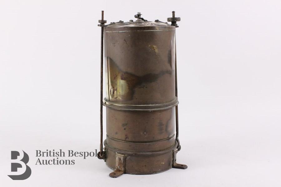 Rare Brass Running Board Mounted Acetylene Lamps Generator