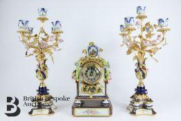 Giulia Mangani Porcelain Clock and Garniture