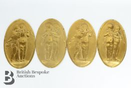 Four French Gilt Brass Panels