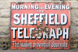 Morning & Evening Sheffield Telegraph Enamel Sign
