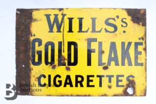 Wills's Gold Flake Cigarettes Advertisement Sign