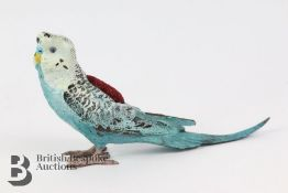 Cold Painted Bronze Budgie Pincushion