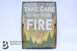 The Duke of Westminster's Estates Fire Sign
