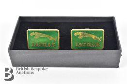 Jaguar Gold Plated and British Racing Green Enamel Cufflinks