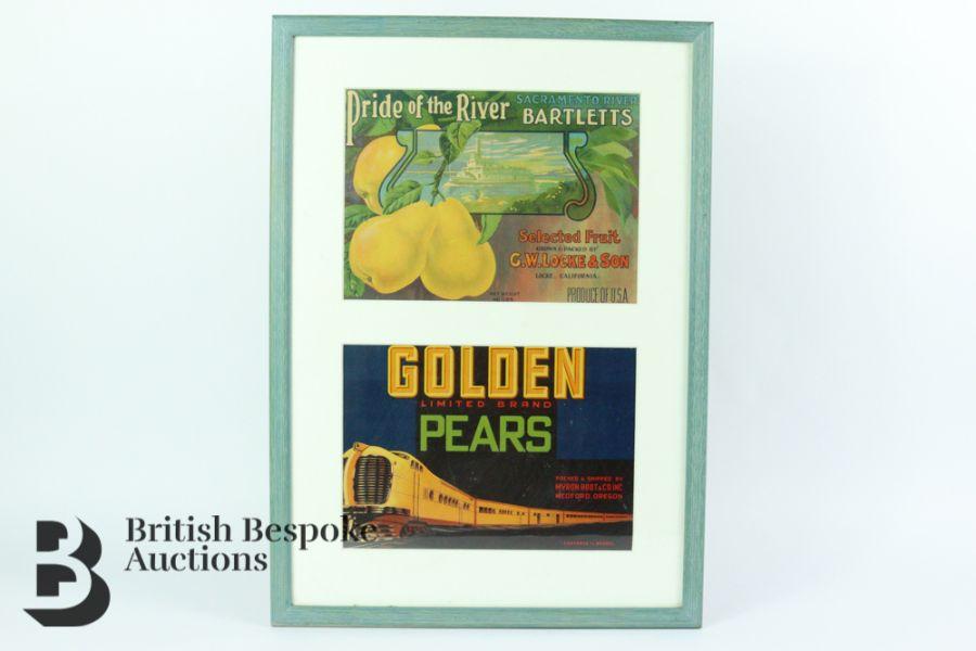 Nine Framed Vintage Fruit Crate Labels