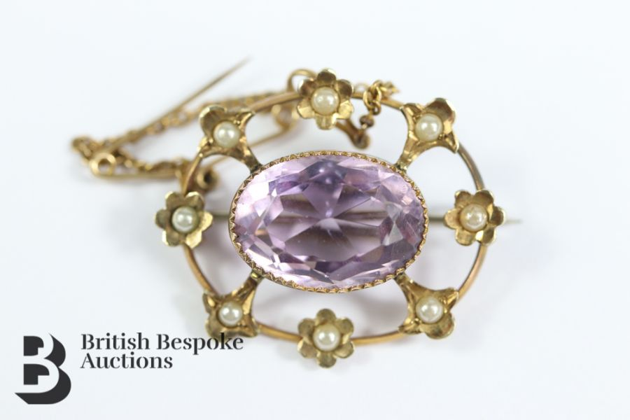 9ct Gold Amethyst and Pearl Brooch