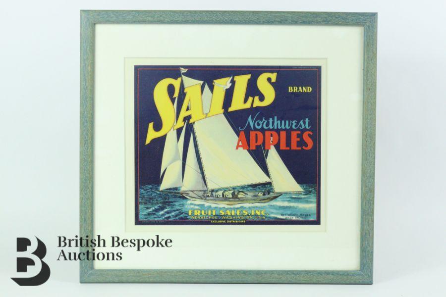 Nine Framed Vintage Fruit Crate Labels - Image 7 of 7