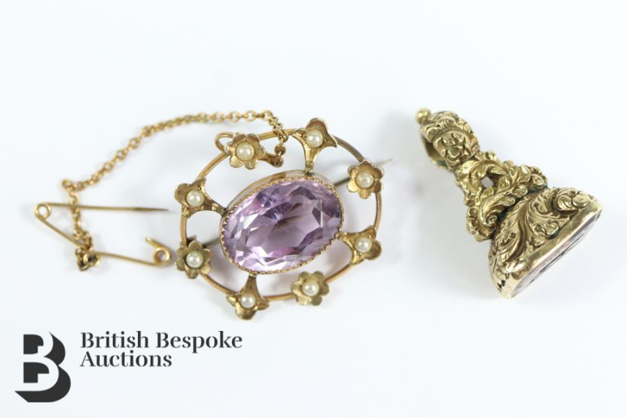 9ct Gold Amethyst and Pearl Brooch - Image 2 of 3