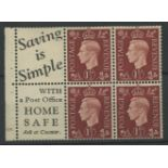 "1937 1½d booklet cylinder 18 dot pane of 4 + 2 advertising labels ""Saving is Simple with a Post"