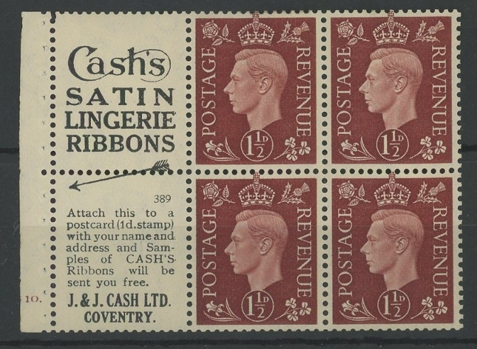 "1937 1½d booklet cylinder 10 dot pane of 4 + 2 advertising labels ""Cash's Satin Lingerie Ribbons""."