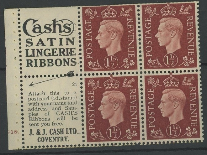 "1937 1½d booklet cylinder 18 dot pane of 4 + 2 advertising labels ""Cash's Satin Lingerie Ribbons""."
