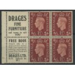 "1937 1½d booklet cylinder 10 dot pane of 4 + 2 advertising labels ""Drages Fine Furniture""."