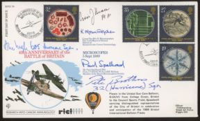 1989 Microscopes Battle of Britain RFDC FDC with extra signatures incl. Pete Brothers & A. Ingle.