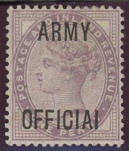"""1896 Army Official 1d lilac with """"OFFICIAI"""" error. Mint, fine."""