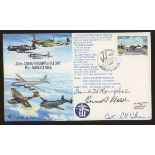 1985 VJ Day cover signed by US Navy aces David McCampbell & Kenneth Walsh. Address label, fine.