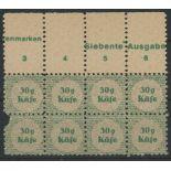 Cinderellas: Third Reich 30g Kafe ration stamps U/M block of 8, pair at left damaged.