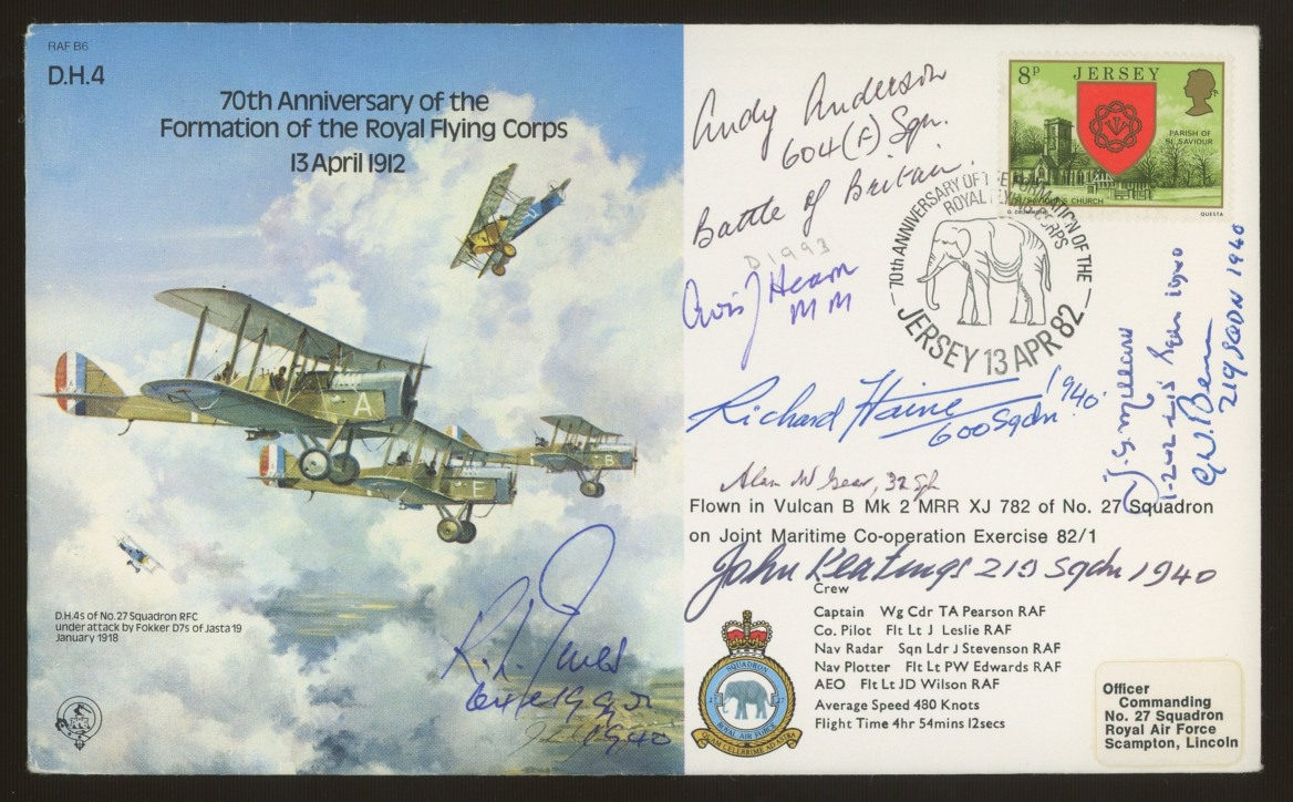 1982 Royal Flying Corps cover signed by 7 Battle of Britain participants. Address label, fine.